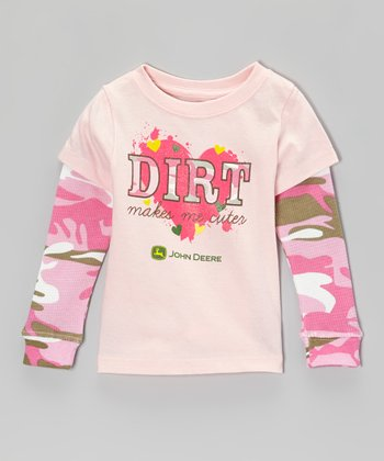 Light Pink 'Dirt Makes Me Cuter' Layered Tee - Infant