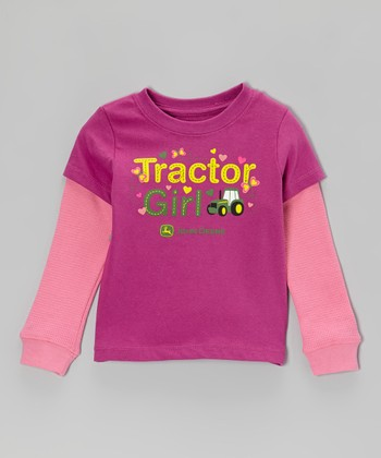 Fuchsia 'Tractor Girl' Layered Tee - Toddler