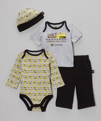 Black Tractor Bodysuit Set - Infant