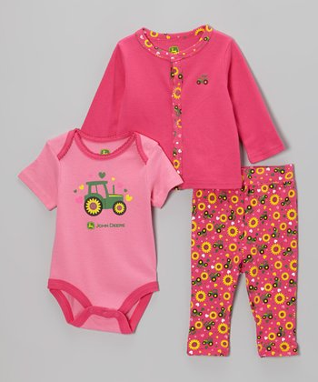 Medium Pink Tractor Bodysuit Set - Infant