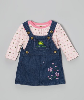 Light Pink Top & Denim Jumper - Infant