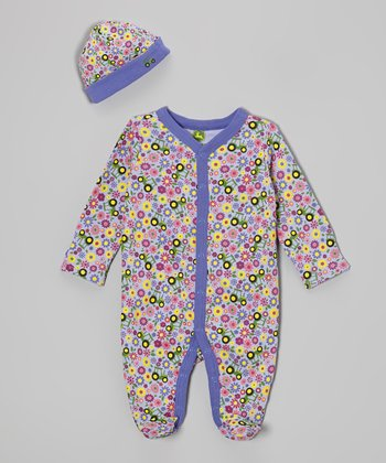 Light Purple Flower Footie & Beanie - Infant
