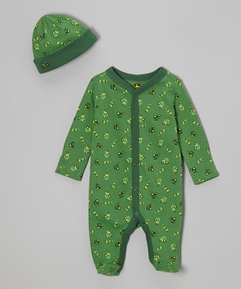 Green Tractor Footie & Beanie - Infant