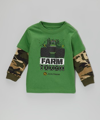 Green 'Farm Tough' Layered Tee - Infant