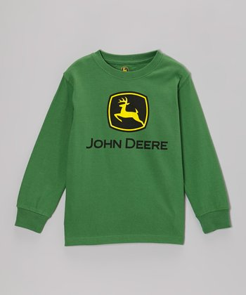 Green Branded Long-Sleeve Tee - Boys