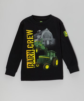 Black 'Barn Crew' Long-Sleeve Tee - Boys