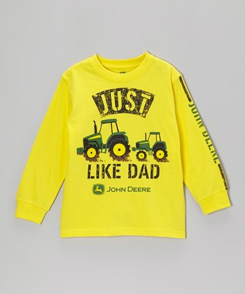 Yellow 'Just Like Dad' Long-Sleeve Tee - Boys