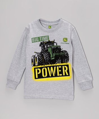 Heather Gray 'Big Time Power' Long-Sleeve Tee - Boys