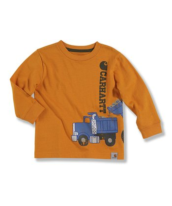 Orange Dump Truck Long-Sleeve Tee - Toddler