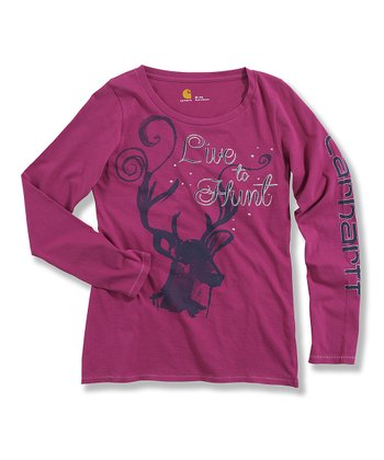 Plum 'Live to Hunt' Long-Sleeve Tee - Girls
