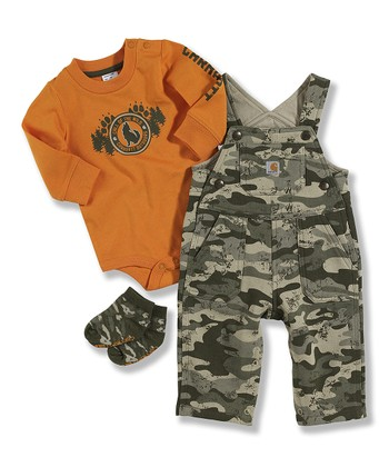 Orange & Camo Overalls Set - Infant