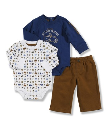Blue & Brown Bodysuit Set - Infant