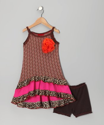 Brown & Pink Leopard Hi-Low Dress & Briefs - Toddler & Girls