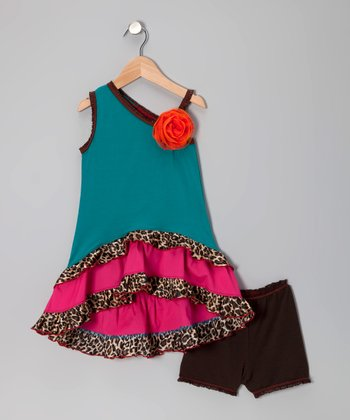 Teal Leopard Hi-Low Asymmetrical Dress & Briefs - Toddler & Girls