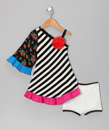 Black Floral Stripe Asymmetrical Dress & Briefs - Toddler & Girls