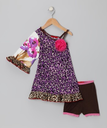 Purple Cheetah Asymmetrical Dress & Briefs - Toddler & Girls