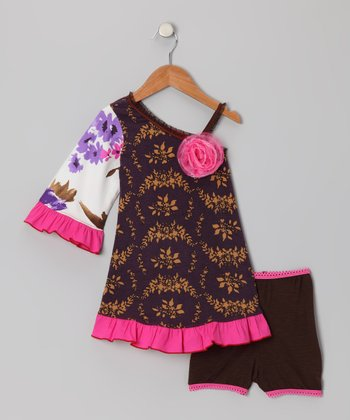 Purple Flower Asymmetrical Dress & Briefs - Toddler & Girls