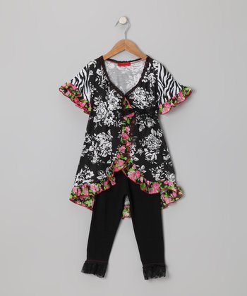 Black & White Floral Wrap Top & Pants - Toddler & Girls