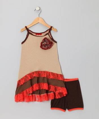 Taupe & Tangerine Flower Ruffle Dress & Briefs - Toddler & Girls