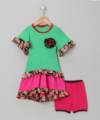 Green & Pink Flower Ruffle Dress & Briefs - Toddler & Girls