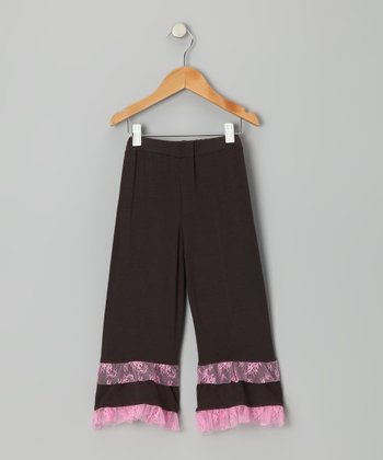 Brown & Pink Lace Ruffle Pants - Toddler & Girls