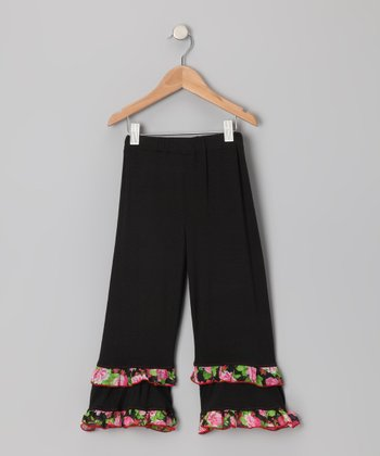 Black Floral Ruffle Pants - Toddler & Girls