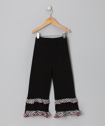 Black & White Stripe Ruffle Pants - Toddler & Girls
