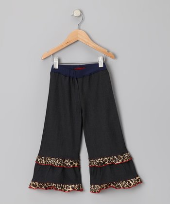 Midnight Wash Cheetah Ruffle Pants - Toddler & Girls