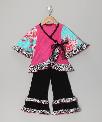 Pink & Blue Zebra Wrap Top & Pants - Toddler & Girls