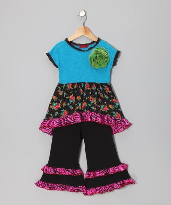 Blue & Pink Floral Zebra Hi-Low Tunic & Pants - Toddler & Girls