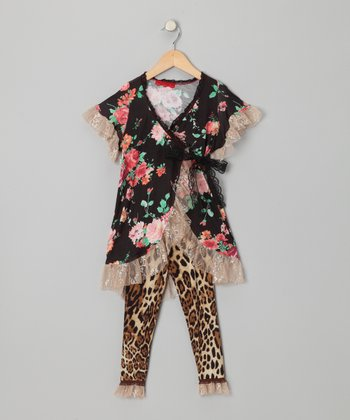 Black Floral Wrap Top & Pants - Toddler & Girls
