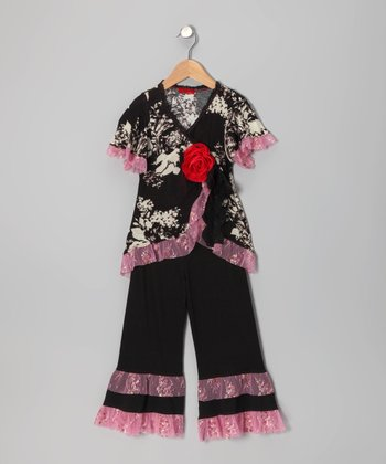 Black Floral Lace Wrap Top & Pants - Toddler & Girls