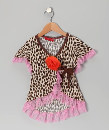 Brown Leopard Lace Wrap Top - Toddler & Girls