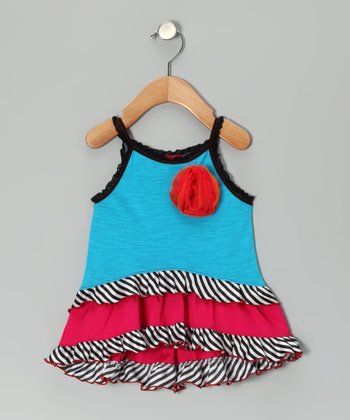 Blue Zebra Flower Ruffle Tank - Toddler & Girls