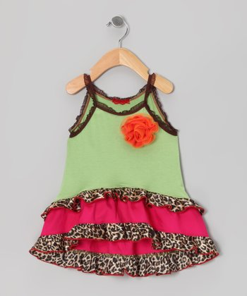 Lime Leopard Flower Ruffle Tank - Toddler & Girls