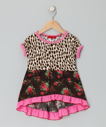 Pink Cheetah Floral Hi-Low Tunic - Toddler & Girls