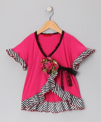 Fuchsia Zebra Stripe Wrap Top - Toddler & Girls