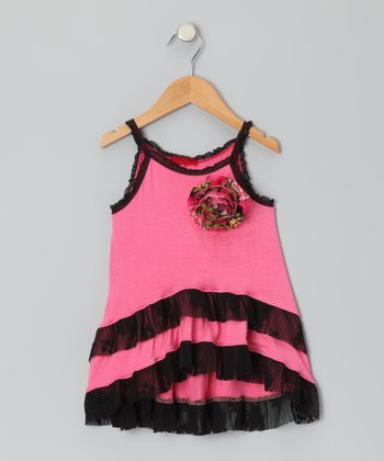 Pink Black Lace Ruffle Tank - Toddler & Girls