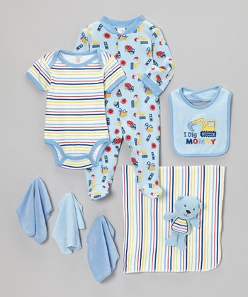 Blue 'I Dig Mommy' Footie Set - Infant