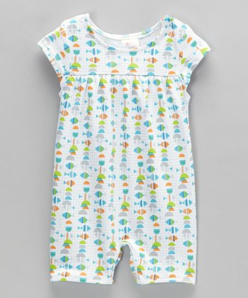 White Fish Cap-Sleeve Romper - Infant