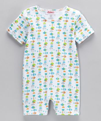 White Fish Romper - Infant