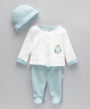 Turquoise Owl Cardigan Set - Infant