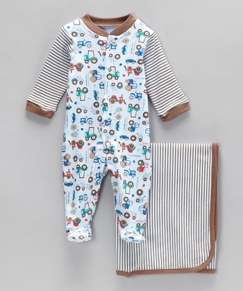 Blue & Brown Tractor Footie & Stroller Blanket