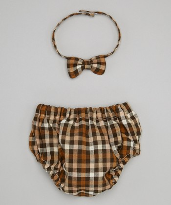 Caught Ya Lookin' Brown Plaid Bow Tie & Diaper Cover - Infant