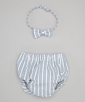 Caught Ya Lookin' Blue Stripe Seersucker Bow Tie & Diaper Cover - Infant