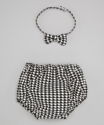 Caught Ya Lookin' Black Houndstooth Bow Tie & Diaper Cover - Infant