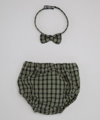 Caught Ya Lookin' Green Plaid Bow Tie & Diaper Cover - Infant