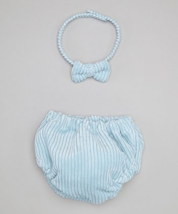 Caught Ya Lookin' Blue Corduroy Bow Tie & Diaper Cover - Infant