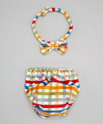 Caught Ya Lookin' Rainbow Plaid Minky Bow Tie & Diaper Cover - Infant