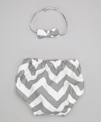 Gray Zigzag Bow Tie & Diaper Cover - Infant